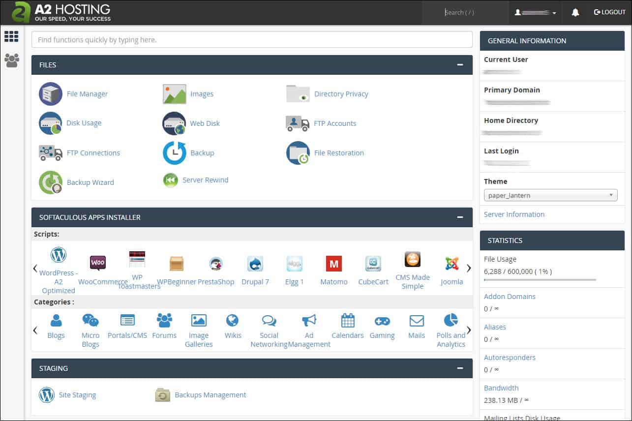 Screenshot of the A2 Hosting cPanel