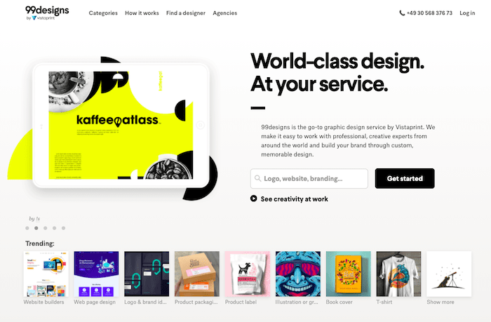 99designs review homepage